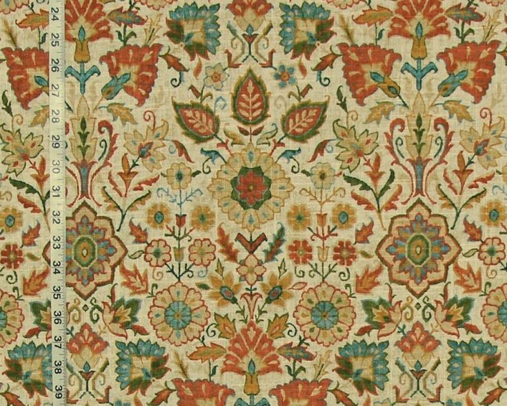 Craftsman rug fabric orange blue Arts and  Crafts style linen from Brick House Fabric: Novelty Fabric