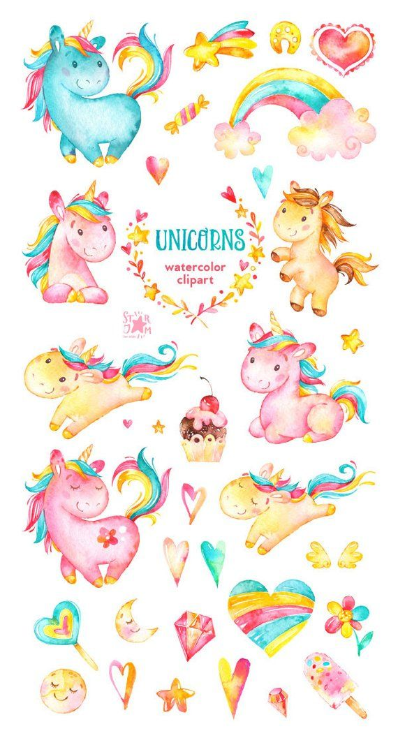 Unicorns Watercolor Clip Art Rainbow Hearts Flowers