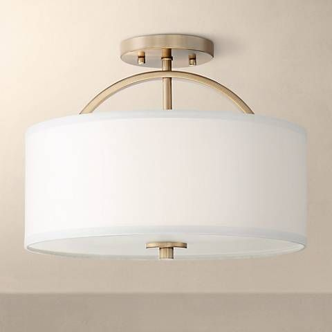 Possini Euro Halsted 15 Wide Warm Brass Ceiling Light