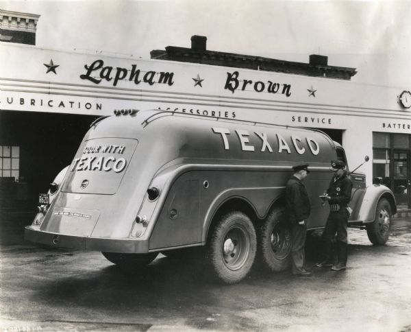 Texaco Truck at Service Station | Photograph | Wisconsin Historical Society