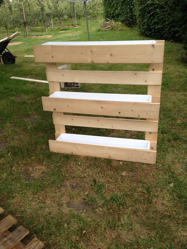 Zelfgemaakte verticale moestuinpallet!   Benodigheden:  Schroeven  Planken  Schroevendraaier( elektrisch)  Zaag ( elektrisch)  Potlood Meetlint 3 plantenbakken Plantjes of zaadjes