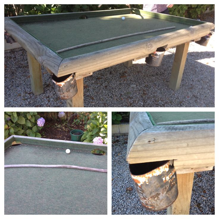 DIY Upcycled Outdoor Pool Table. Paint Cans As Pockets And Long Sticks As  Cues