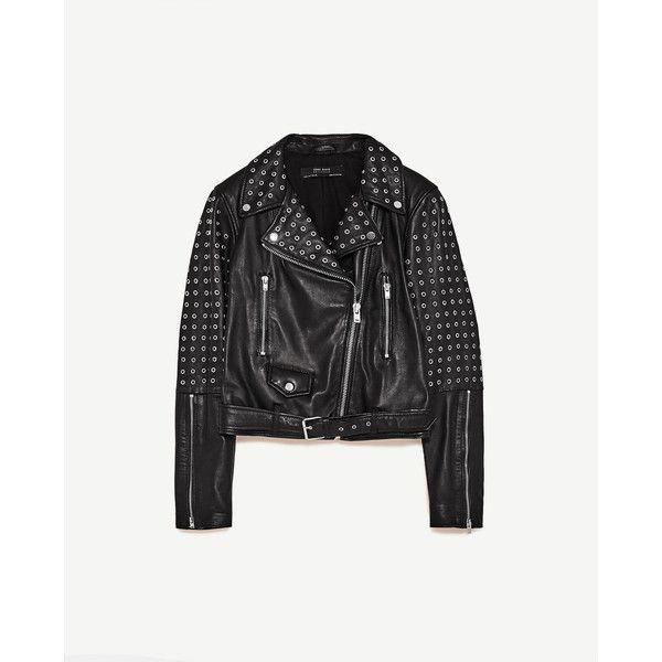 CAZADORA DE PIEL - CHAQUETAS-MUJER | ZARA España (625 MXN) ❤ liked on Polyvore featuring jackets