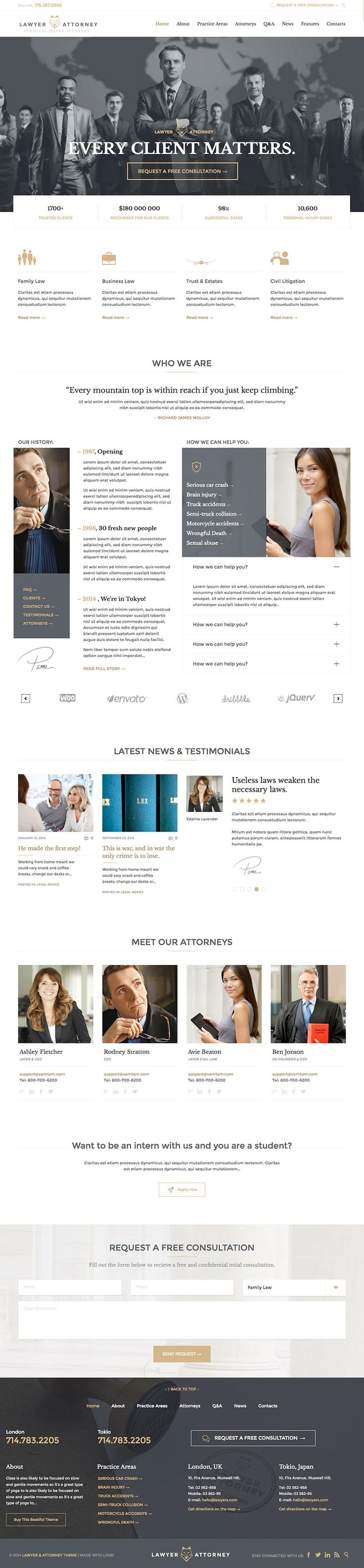 Lawyers Attorney Legal Office is a professional business style premium WordPress theme for any firm with easy to use features for your law & legal website. - WPExplorer
