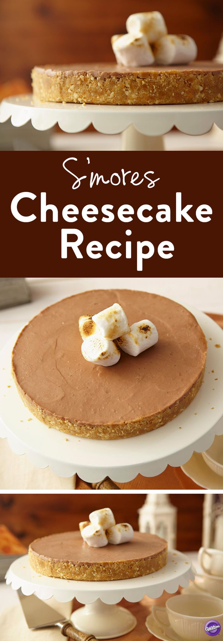 S'mores Cheesecake Recipe - This rich creamy smores cheesecake will be a sure hit at your next gathering. Garnish with chopped candy and jumbo marshmallows for the ultimate s'mores look! No campfire required!