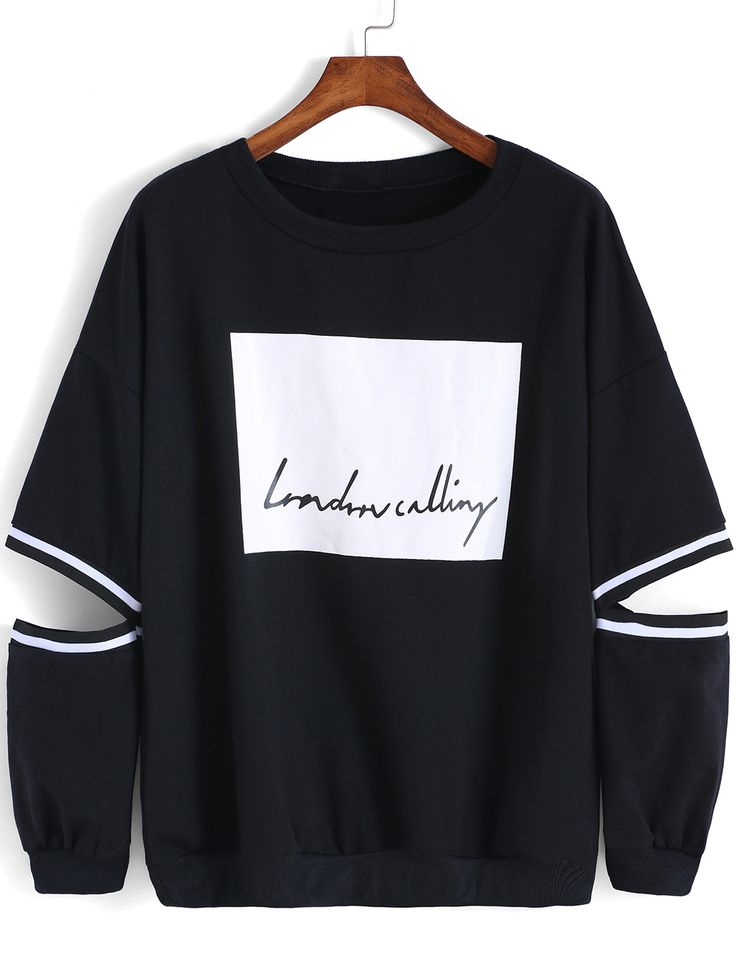 Black Round Neck Hollow Letters Print Sweatshirt