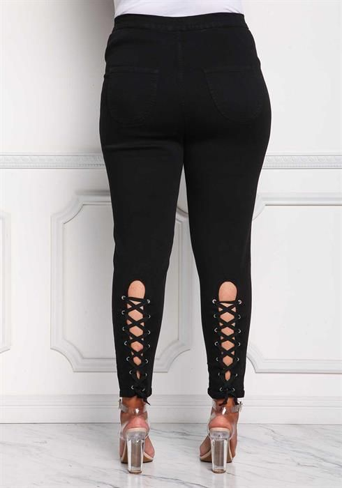 $44.95---3X---BLACK--- High Rise Back Lace Up Skinny Jeans