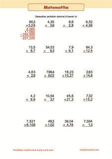 belajar anak, matematika kelas 5 SD, lembar bilangan desimal, perkalian
