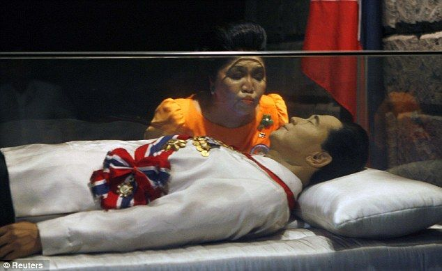 Death: Mrs Marcos' husband Ferdinand Marcos died in exile in Hawaii in 1989