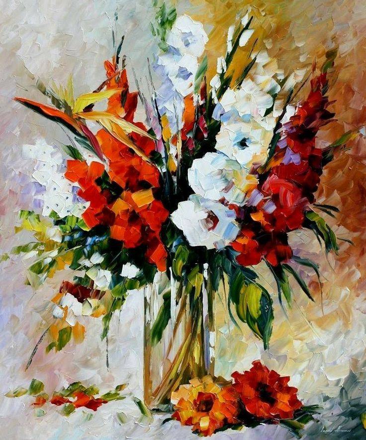 August's Gladiolas; Leonid Afremov - Love his style so much!