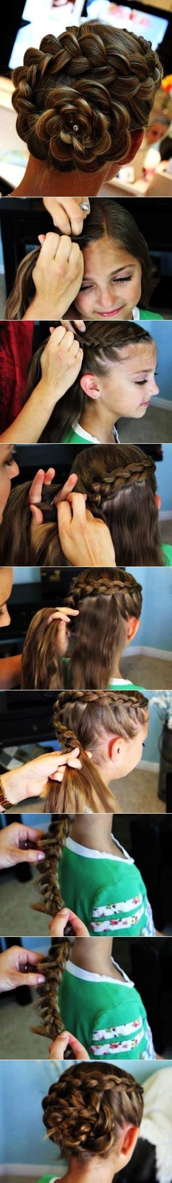 DIY Flower Hair beauty long hair updo braids how to diy hair hairstyles tutorials hair tutorials easy hairstyles