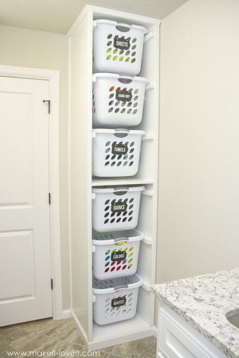 This looks like it came with the house – it fits so well! MDF, 3/4 inch wide 2×4's 2×6's Finishing Trim pieces screws wood glue nails, nail gun, etc Sterilite Laundry Baskets, 1.5 …