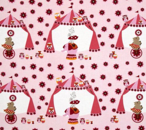 3-yd-What-A-Hoot-Circus-Tents-Pink-Elepants-Poodles-Fabrics-Children-Quilt