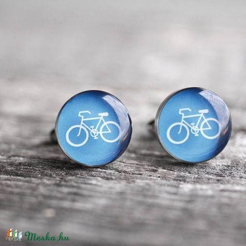 Bicikli nemesacél mandzsettagombok (kék), Férfiaknak, Mandzsettagomb, Bringás kiegészítők, Vőlegényes, Ékszerkészítés, Mindenmás, Meska