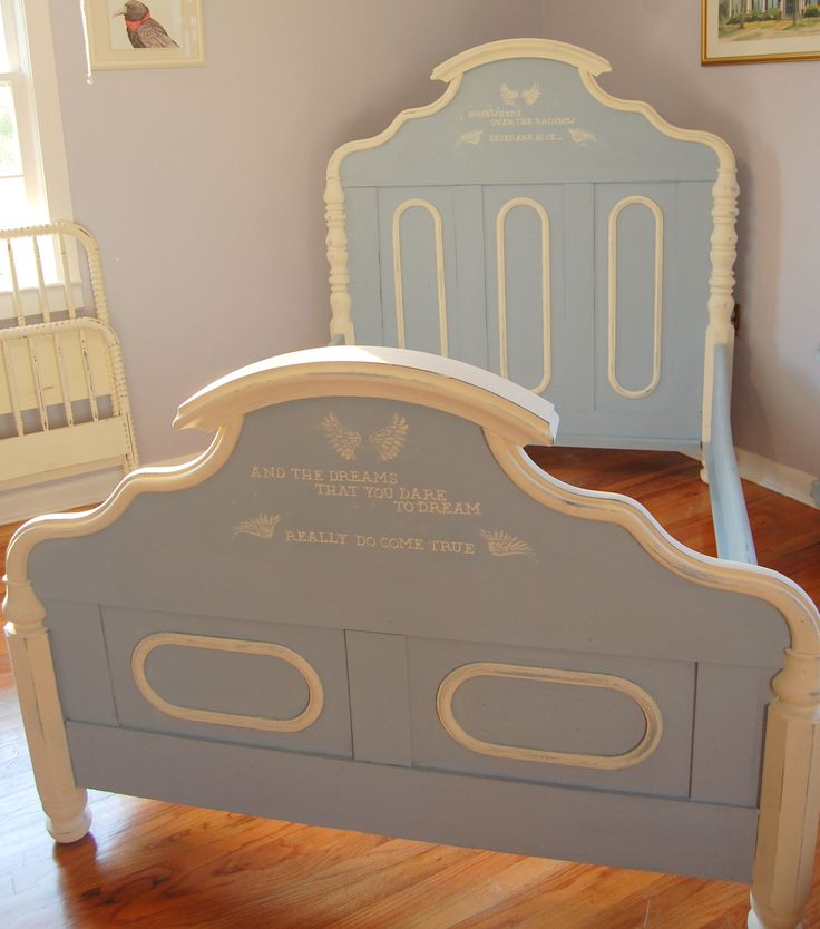 Victorian bed painted in Chalk Paint® colors Louis Blue and Old White with second verse of Somewhere Over the Rainbow stenciled on headboard and footboard.