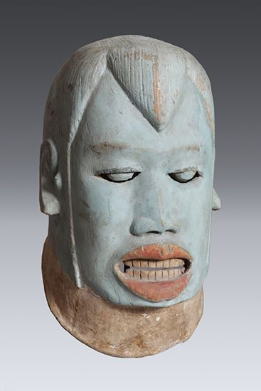 Helmet Mask (lipico), Makonde - depicting a Maasai? Wood, paint, 30.5cm, Private collection,