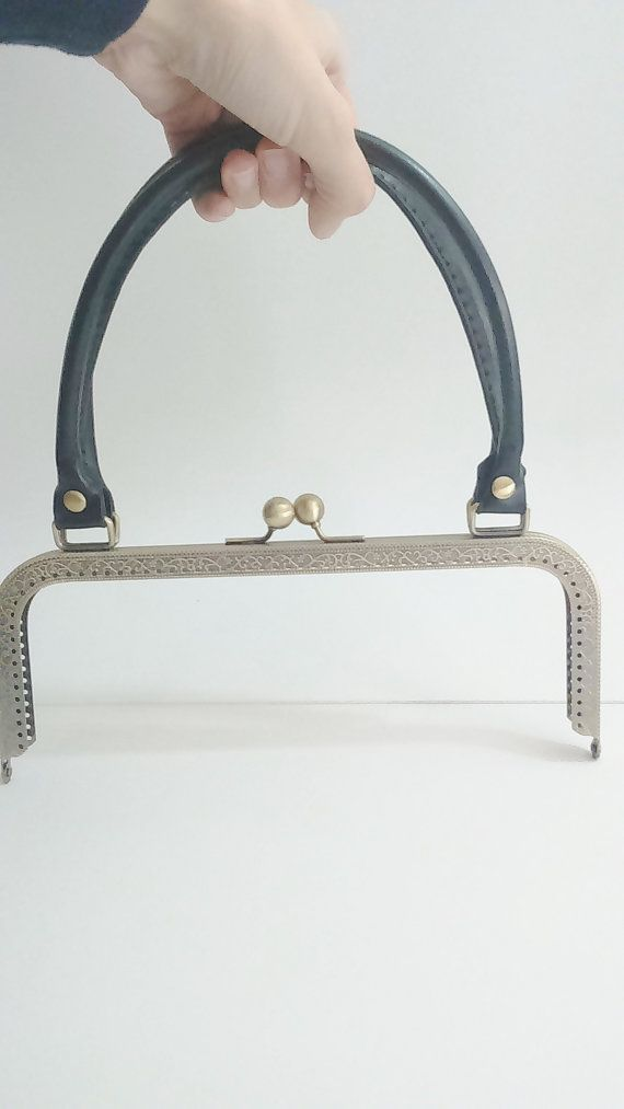 1 bronze metal purse frame with sewing holes 24 cm by ROYALcraftPT