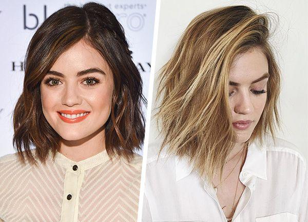 Antes e depois do cabelo de Lucy Hale. A cantora e atriz fez luzes no cabelo.