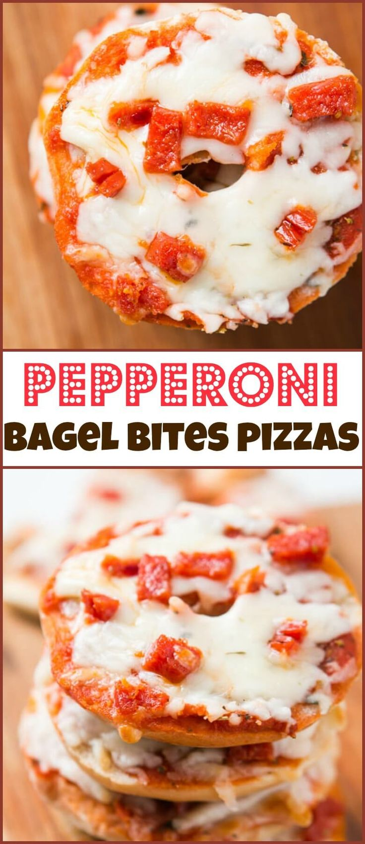 Pepperoni Bagel Bites Pizzas via @ohsweetbasil