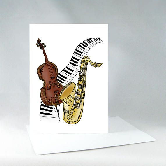 Music Card Musical Instrument Painting Musical Wall Art Keyboard Painting Cello Art Saxophone Water Musical Wall Art Musical Instruments Drawing Cello Art