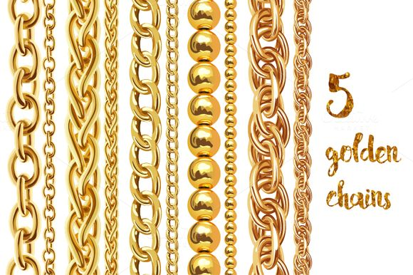 5 golden chains by Ann-zabella on @creativemarket