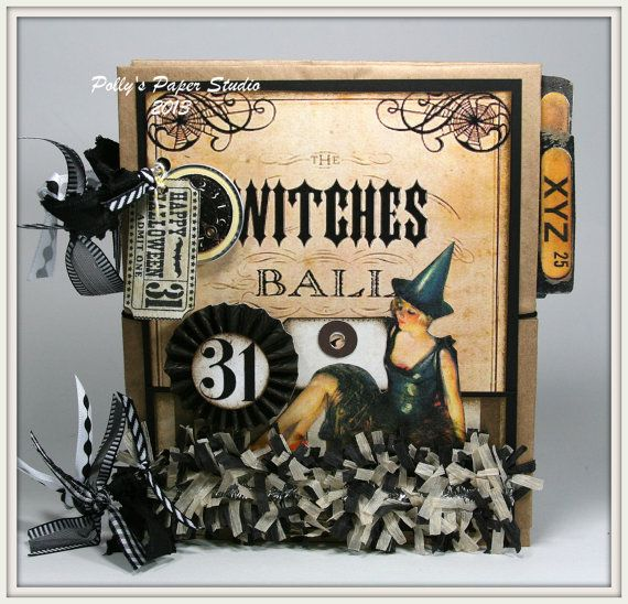 Witches Ball Vintage Halloween Mini Album Scrapbook by PollysPaper, $30.00