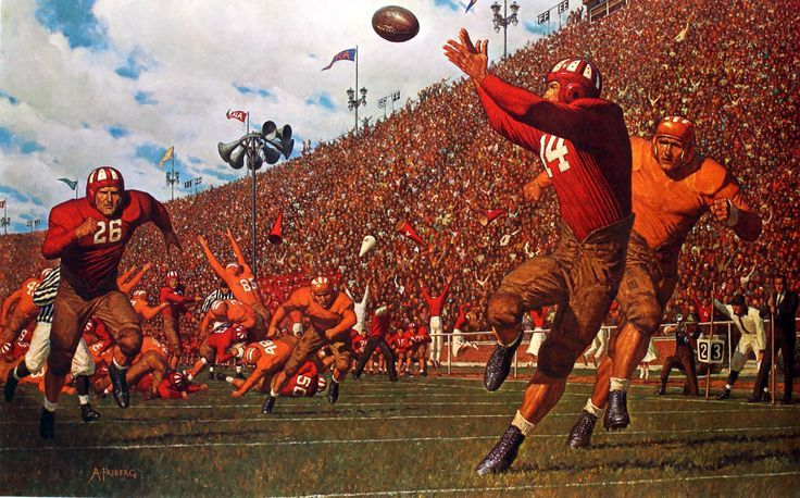 Arnold Friberg, Howell to Hutson – The Passing Game, 1968. Private collection