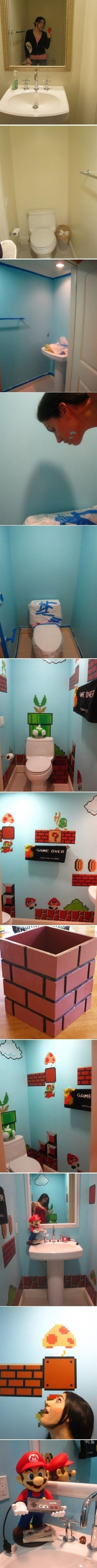 Turn your bathroom from plain to an adventure straight out of the Mushroom Kingdom.