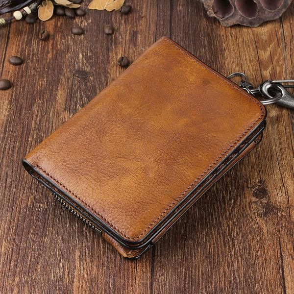 Photo of Handmade Leather Mens Cool Long Leather Wallet Bifold Clutch Wallet for Men