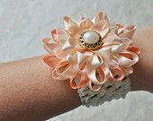Peach Corsage, Peach and Ivory Wrist Corsage, Ivory and Peach Wedding Flowers, Pale Peach Flower Corsage