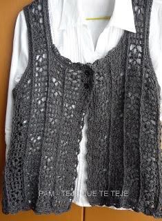 TEJE QUE TE TEJE: CHALECO GRIS: Crochet, Chaleco Gris, Crochet Vest, Crocheted Garments, Chalecos Realizados, Chalecos Tejidos A Gancho, Gris Realizado