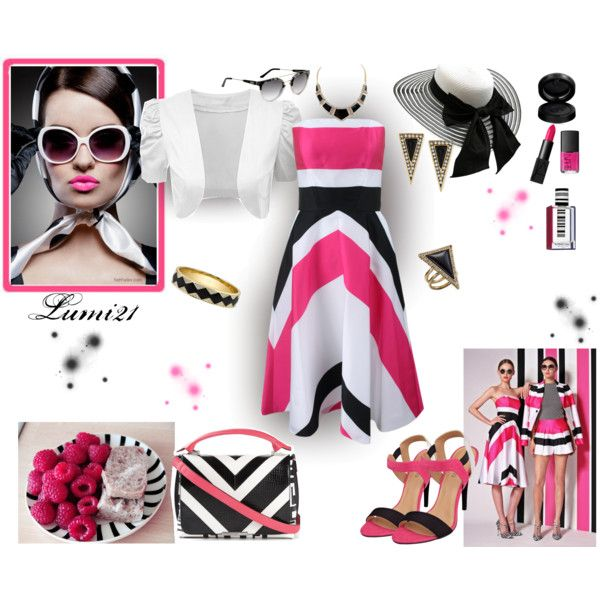 pink stripes by lumi-21 on Polyvore featuring Christian V Siriano, Doublju, Nine West, Emilio Pucci, House of Harlow 1960, NARS Cosmetics, GAB, Balenciaga, Pink and stripes