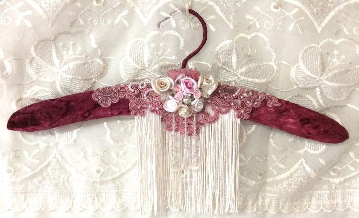 Burgandy Beaded Lace Hanger