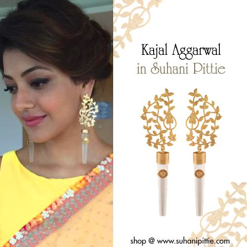 Simply Elegant. Stylishly Sophisticated! Kajal Aggarwal sparkles in Suhani Pittie at the Paayum Puli Audio launch. Shop @ bit.ly/sp-kajal  #SuhaniPittie #PaayumPuli #KajalAggarwal #Elegant #Earrings #OnlineShopping #Fashion
