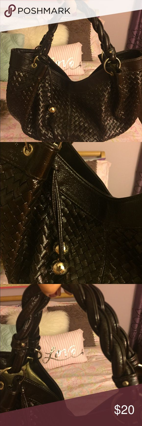 Brown weave patent hobo purse Large Vegan patent leather hobo - weave pattern - gold hardware - gold interior with inside pocket. In like new condition!!! Purchased at Target. Offers welcome. target Bags Hobos