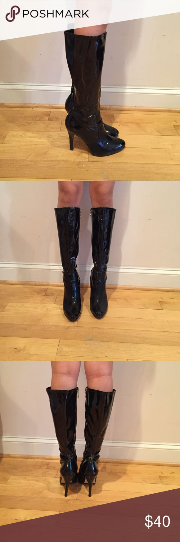 """Tahari patent leather boots Only been worn once. Black patent leather. 4"""" heel. Tahari Shoes Heeled Boots"""