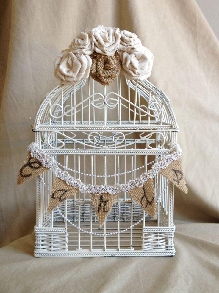 Wedding Bird Cage Card Holder Shabby Chic Box Rustic