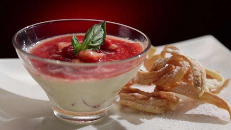 Jake and Elle's Strawberry & Amaretto Semifreddo from S4 of MKR: http://gustotv.com/recipes/dessert/strawberry-amaretto-semifreddo/