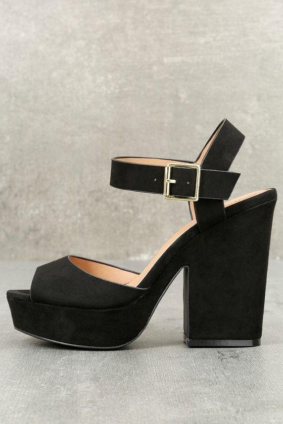 b5b03f276ae Cabaletta Black Suede Platform Heels