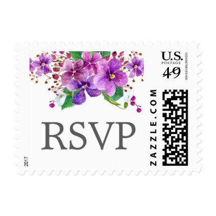 Watercolor Floral Wedding Postage Response Cards - purple floral style gifts flower flowers diy customize unique