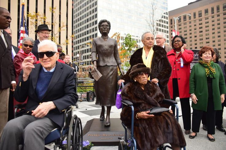 NAACP honors civil rights pioneer Frankie Freeman with statue in Kiener Plaza   St. Louis Public Radio