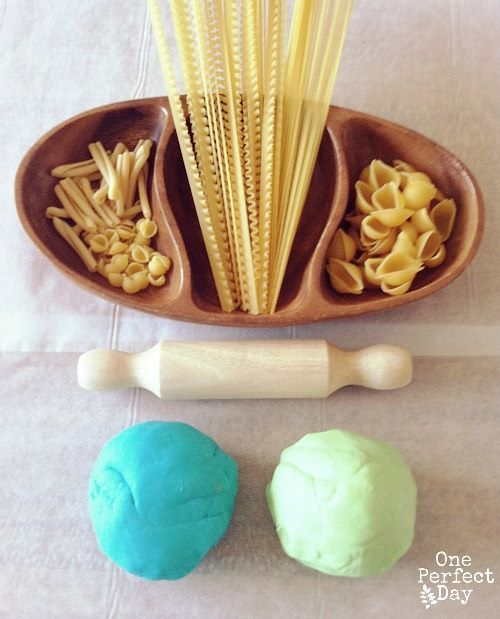 Play dough and pasta in different shapes and lengths - One Perfect Day ≈≈