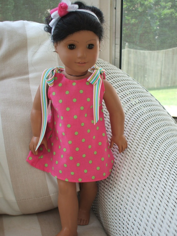 A line dress with ribbon ties. for American Girl Bitty Baby or Bitty Twin pink by CrystalsExpressions,
