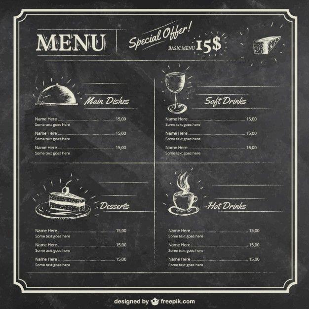 Modello del menu sulla lavagna Vettore gratuito