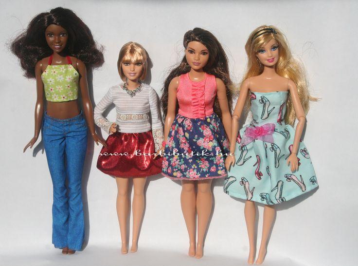 A magas, a kicsi, a dundi 2016-os  és a normál testalkatú 2015-ös babáim. / Tall, petit, curvy and original Barbie.