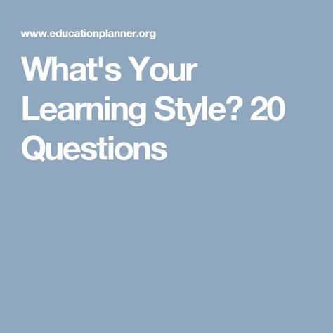 20 Questions Online Learning Style Inventory : Figuring out students' learning styles is crucial to drive instruction.