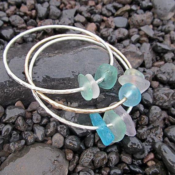 Sea Glass Bangle, Sterling Silver, Hammered Bracelet, Handmade, Hawaiian Seaglass, Surfer Girl, Hawaii Beach Jewelry, Ocean Lover Gift idea
