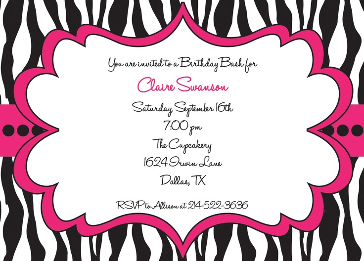 170 best birthday: zebra party images on pinterest | zebra party, Birthday invitations