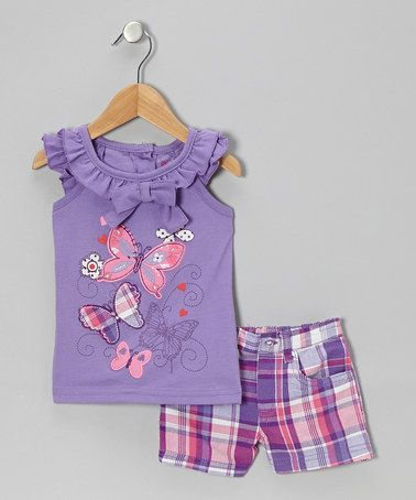 Love this Purple Butterfly Top & Plaid Shorts - Infant & Toddler on #zulily! #zulilyfinds
