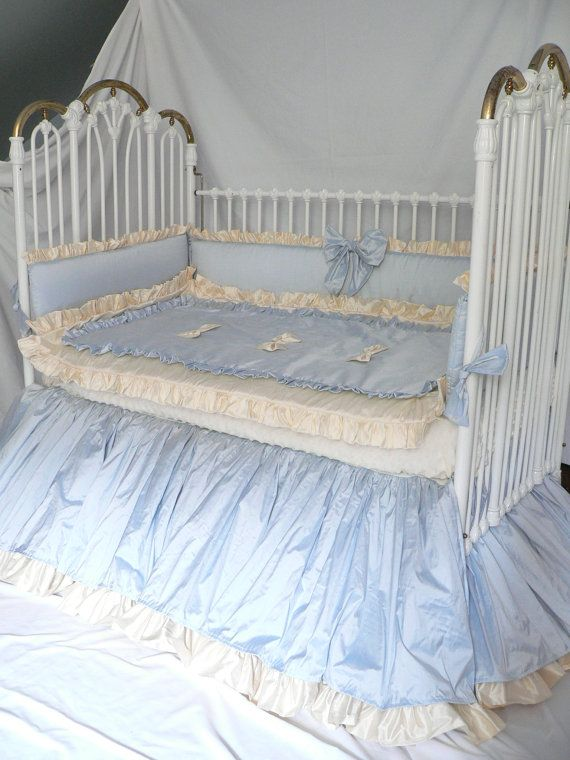 Hey, I found this really awesome Etsy listing at https://www.etsy.com/listing/158767787/baby-blue-silk-custom-crib-bedding